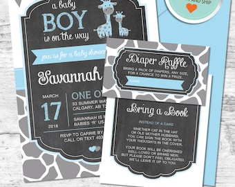 Giraffe Baby Shower Invitation, Giraffe Invitation, Blue, Gray, Flags, Spots, Chalkboard | Printed
