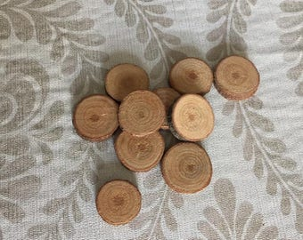 A set of 10 wood slices