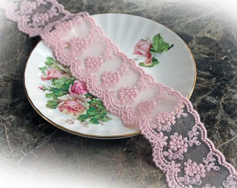 Reneabouquets Trim-Sheer Romance Lace In Pink, Embroidery, Mesh , Wedding Trim, Sewing, Scrapbook, crafts
