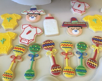 12 mexican baby shower sugar cookies