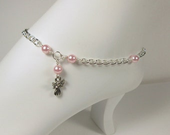 Pink Angel Anklet/Ankle Bracelet, Pink Swarovski Pearl Anklet with Angel Charm, Silver chain, Swarovski Rose Pearl, Plus Size available