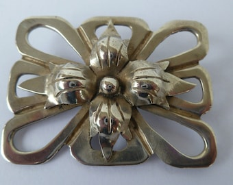 1940s Signed 'SILVER MEXICO' Vintage Brooch 3.5cm x 4.5cm