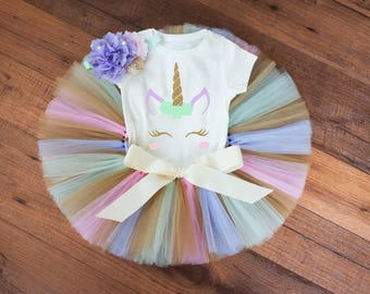Pastel and gold unicorn first birthday outfit first birthday outfit unicorn baby girl first birthday unicorn cake smash outfit 1st birthday