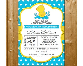 Rubber Duck Baby Shower Invitation, Instant Download, Blue Duck Baby Shower invitation for a Boy Shower DKBY4, Shower Printables