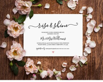 Wedding Brunch Invitation Template, Rise and Shine, Post Wedding, Modern Calligraphy, Editable Template, Instant Download, DIY  #030-201BR