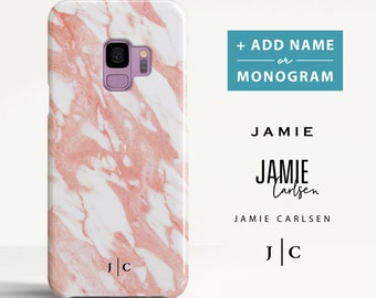 Samsung Galaxy S9 Plus case Marble Samsung Galaxy S8 case Samsung Galaxy A5 case Personalised Initials Phone case for Samsung. (MB17)