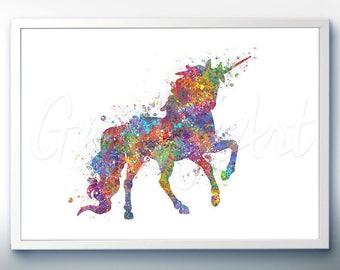 Unicorn Watercolor Art Print  - Home Living - Animal Painting - Unicorn Poster - Wall Decor - Home Decor - House Warming Gift