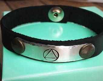 Sobriety Bracelet, AA Symbol Bracelet, Recovery Bracelet, Sobriety Jewelry, One Day at a Time, Sober, Leather Cuff Bracelet, Recovery Gift