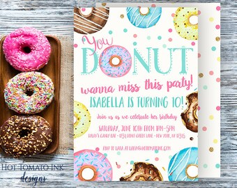 Donut Invitation-Donut wanna miss this party-birthday invitation-watercolor donuts-funny invitation-donut party-donut birthday-printable
