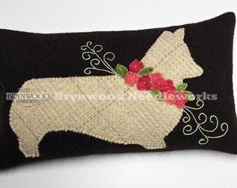 Ltd. Ed. Brynwood Fairy Steed Corgi Pincushion, Corgi Pincushion, Wool Flower Pincushion, Wool Needlekeep, Lavender Sachet, Cold or Hot Pack
