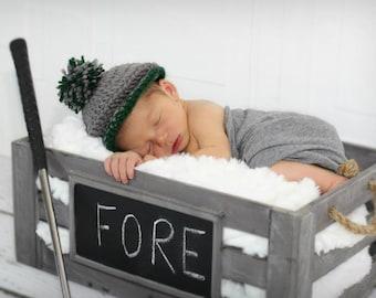 Little Golfer Crochet Golf Hat for baby Newborn Photo Prop