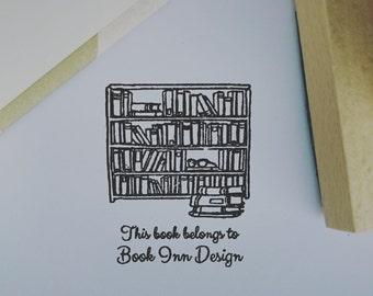 Exlibris - Personalised Library Book Stamp Bookshelf