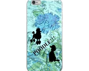 Paris Poodle Dog Blue Floral Dog Lovers French Poodles Cell Phone Case iPhone Case 6 Plus, 6/6s, 7 Plus, 8 Plus, X