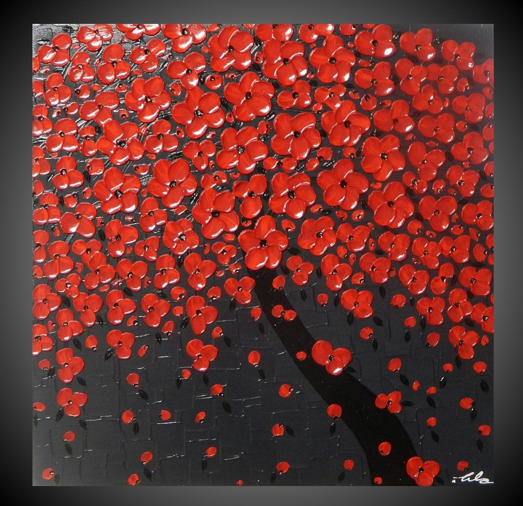 Tree painting Red flower painting abstract painting acrylic