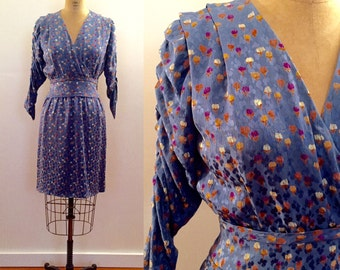 Beautiful periwinkle blue floral silk 70s dress made for Bergdorf Goodman