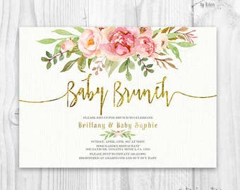 Floral Baby Shower Invitation, Brunch For Baby Invitation, baby girl invites, boho baby shower, pink and gold Floral invitation, gold foil