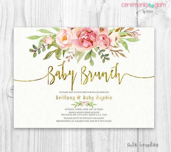 Floral Baby Shower Invitation Brunch For Baby Invitation