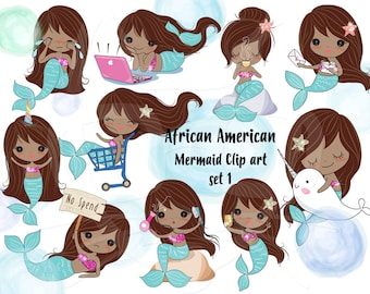Cute Mermaid African American Clip art set 1 , instant download PNG file - 300 dpi