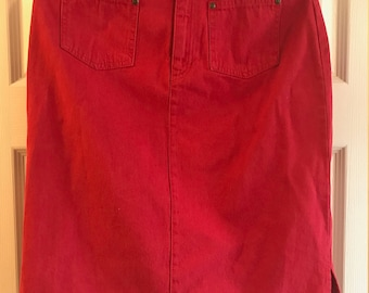 Red Denim Skirt By Liz Claiborne Lizwear Jeans - Size 6 - Authentic - Front Pockets