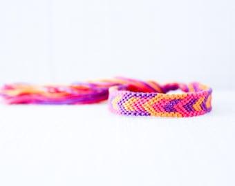 Friendship Bracelet Geometric Chevron Pink Purple and Orange