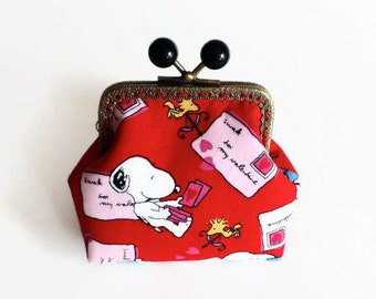 "Peanuts Snoopy Coin Purse / Snoopy and Woodstock Metal Frame Pouch / Snoopy ""Love letters"" Fabric Purse/ Snoopy Bags"