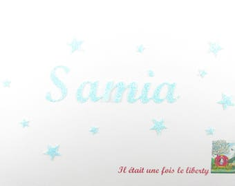 Applied fusible customizable glitter name 5 letters (Samia, example) glitter fabric (colors)