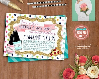 "Birthday Party Invitation ""Pedicures & Pizza"" (Printable File Only) Spa Birthday, Mani Pedi Birthday, Tween Birthday, Sleepover Invite"