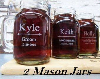 Groomsmen Gift - 2 Personalized Mason Jars