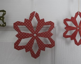 16 plaid & polka dot green/red paper covered chipboard large/small Snowflake diecuts use as ornaments, garlands+