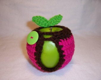 Handmade Crocheted Apple Cozy - Crochet Apple Cozy in Shocking Pink Color with Coffee Color Trim