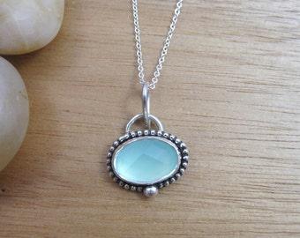 Aqua Chalcedony Necklace Sterling Silver Gemstone Pendant Seafoam Green Necklace Bezel Set Petite Pendant Silver Jewelry Silver Necklace