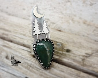 Magikal Ring robust 925 silver night forest with agate moss. 7.2 size us. magical wiccan jewelry