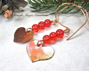 Bright Red & Antiqued Copper Heart Earrings, Long Beaded Dangle, Rustic Hammered Copper, Boho Jewelry for Women, Romantic Gift for Her E393