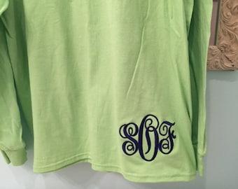 Monogrammed Long Sleeve Shirt with Monogram at Bottom