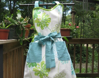 Apron Turquoise and Lime Funky Print Full Apron Ready to Ship RTS