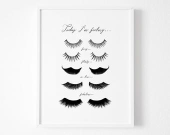Eye Lashes Fashion Print, Wall Decor, Minimal Art, Glamour, Fashion Wall Art, Fashion Poster, Beauty, Bedroom Decor