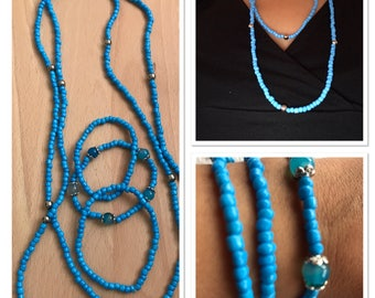 Necklace in blue color with bracelet