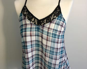 Lucca Couture tank top plaid design blue white maroon and red 100% polyester XS