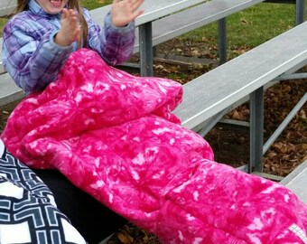 Quillow, pink crush fleece, waterproof picnic blanket,  stadium blanket, compact portable quilt, hospital comfort,gift for teens, Lap quilt