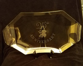 Create an heirloom with this 25th anniversary platter with embossed silver rose