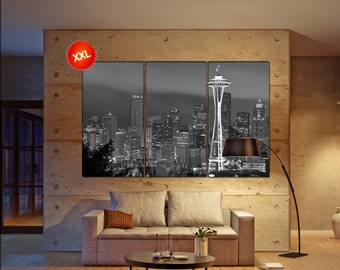 Seattle canvas wall art  skyline Seattle  canvas wall art art Seattle  wall decoration Seattle large canvas wall art