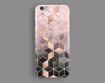 Pink And Grey Gradient Cubes Phone Case, iPhone 5S Case, iPhone 6S Plus, iPhone 7 Case, iPhone 8 Plus Case, Samsung Galaxy S8, Galaxy S7