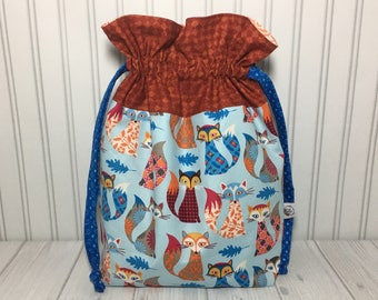 Large Drawstring Knitting Crochet Project Bag - Artsy Foxes