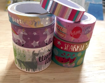 SAMPLES Recollections Washi Trendy Icon unicorn llama rainbow sweets fruit planner tape set 18""