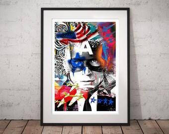 Captain America - Avengers - Digital Art Print