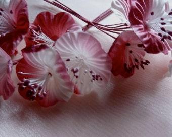 SALE - Raspberry Satin Millinery Flower YoYos in for Bridal, Headbands, Fascinators, Floral Supply MF 93