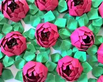 50 Origami Paper Lotus Blossoms - Wedding Decoration - Table Decor