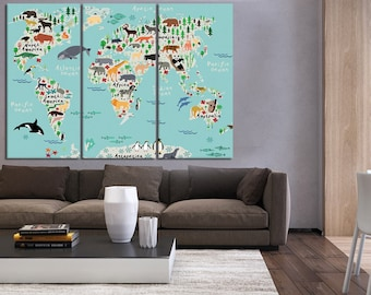 Wall art map etsy nursery world map for kids room wall art map for kids world map with animals gumiabroncs Image collections