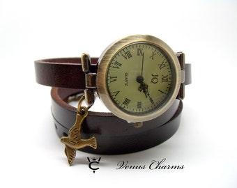 "Vintage Leather watch Bracelet Watch three laps wrist watch Wrap Watch ""bird"""