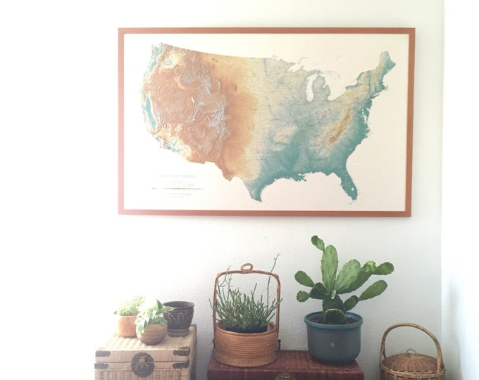 large 1992 framed united states map / satellite relief map / green blue / pickup ONLY